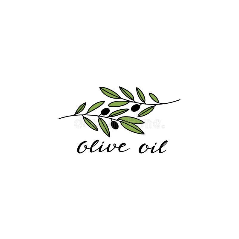 Twee Olive Branches met Zwarte Olijven Logo Design voor Olive Oil Packaging vector illustratie