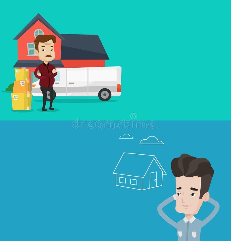 Twee onroerende goederenbanners met ruimte voor tekst vector illustratie