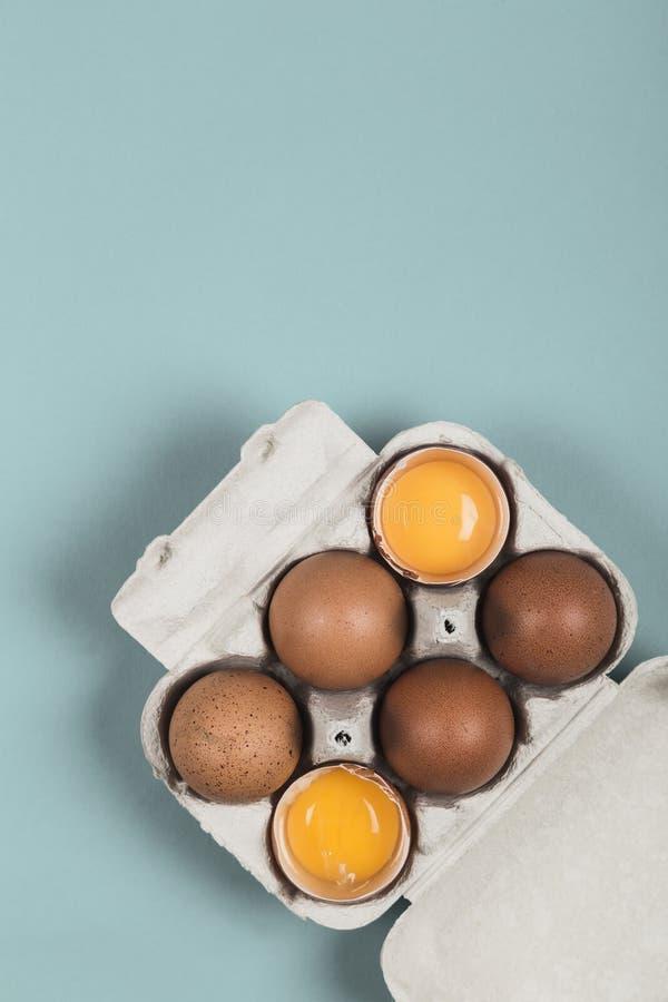 Twee open en vier ongebroken eieren in een eidoos royalty-vrije stock foto