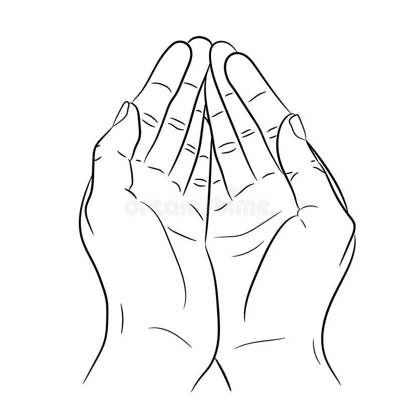Twee open lege handen het vragen van gebaar Vector graphhics stock fotografie
