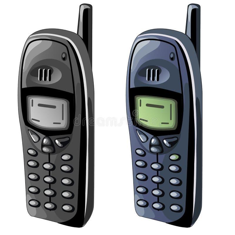 Twee oude celtelefoons met zwart-wit vertoningen royalty-vrije illustratie