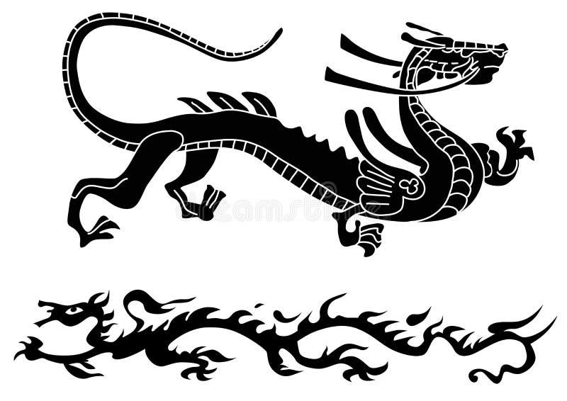 Twee oude draken stock illustratie