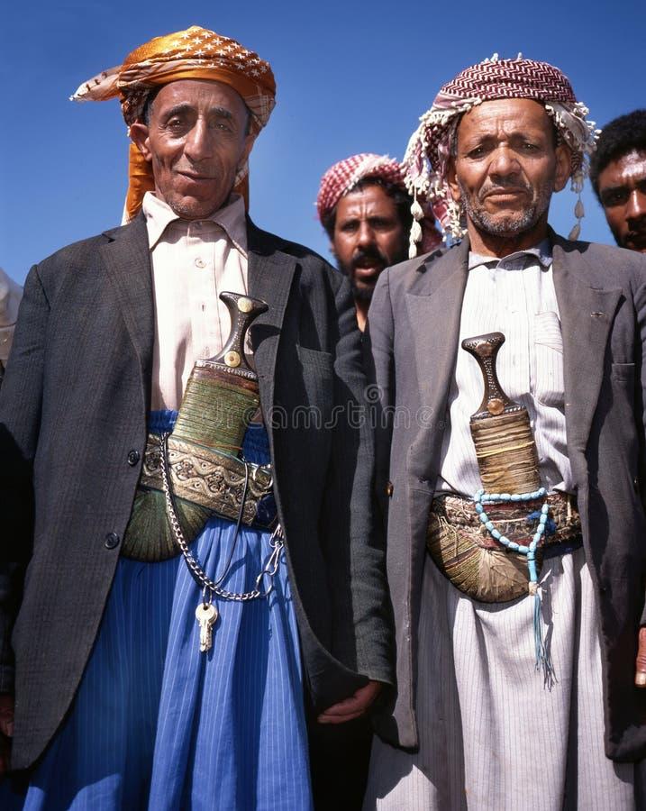Twee oude mensen in djellaba royalty-vrije stock afbeelding