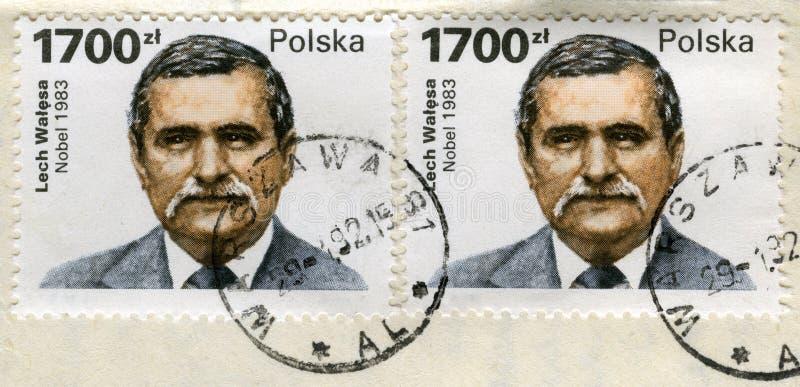 Twee oude postzegels met het portret van Lech Walesa royalty-vrije stock foto