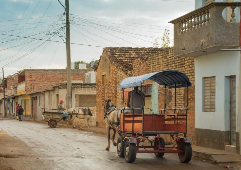 Twee paard getrokken leveringsvervoer in de straten van Trinidad, Cuba royalty-vrije stock fotografie