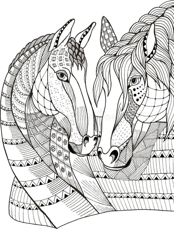 Twee paarden die affectie tonen, zentangle stileerden, vector royalty-vrije illustratie