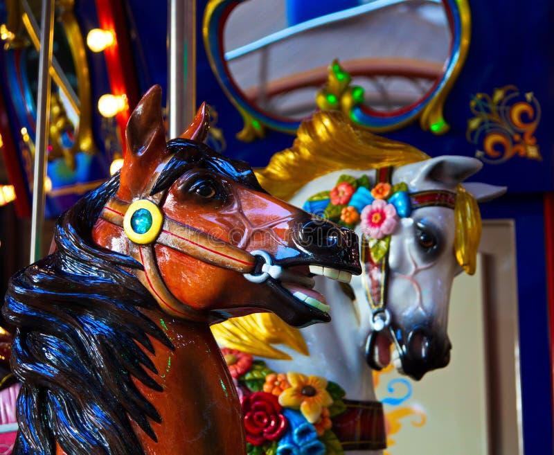 Twee Paarden op een Carrousel royalty-vrije stock afbeeldingen