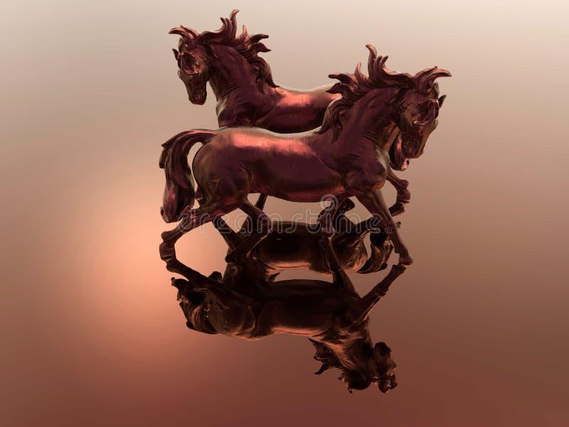Twee paardenbeeldje met bezinningen stock illustratie