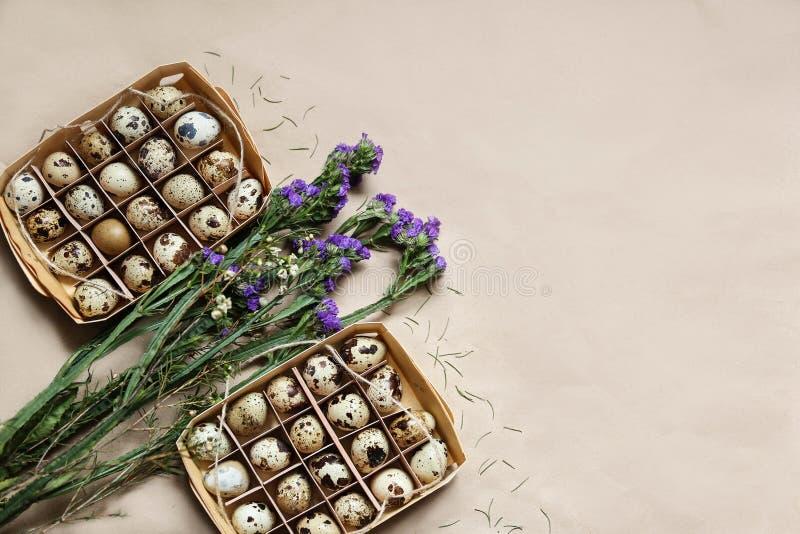 Twee pakketten van kwartelseieren liggen met bloemen stock foto