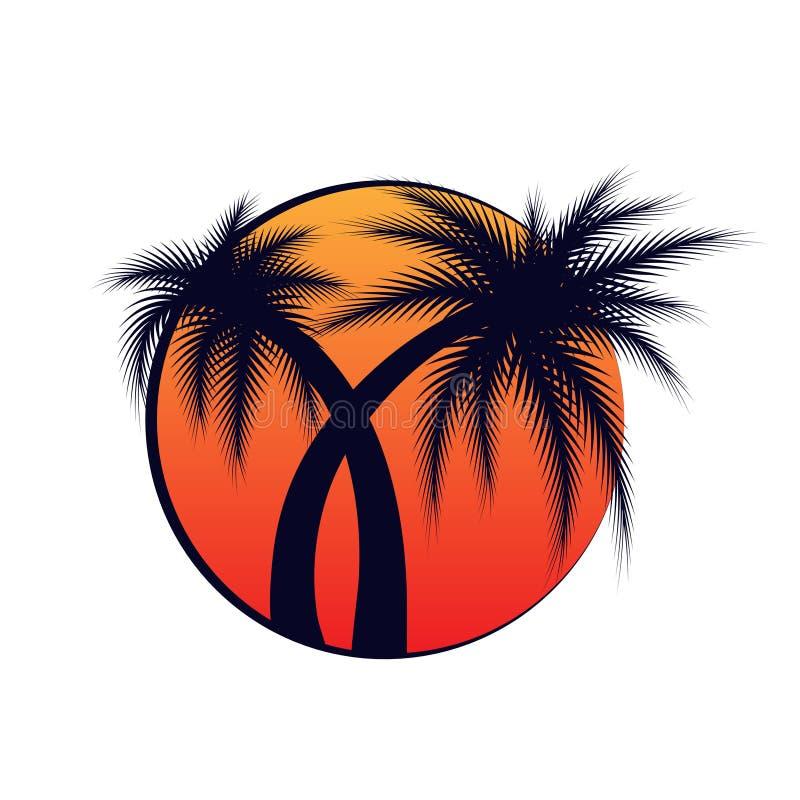 Twee Palmen Vectorillustratie stock afbeeldingen