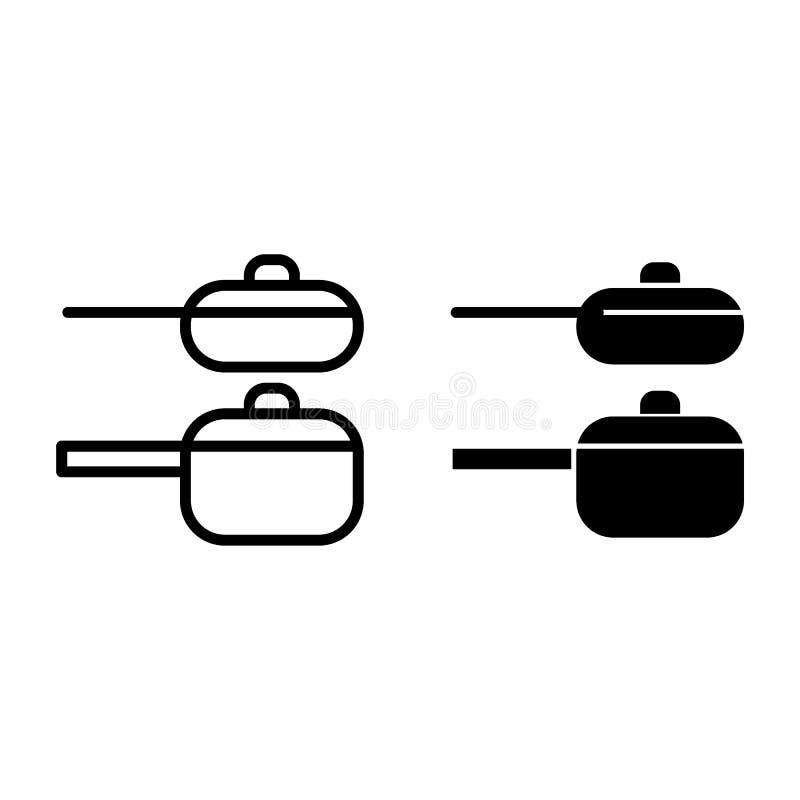 Twee pannenlijn en glyph pictogram Twee kokende potten vectordieillustratie op wit wordt geïsoleerd De stijlontwerp van het steel royalty-vrije illustratie