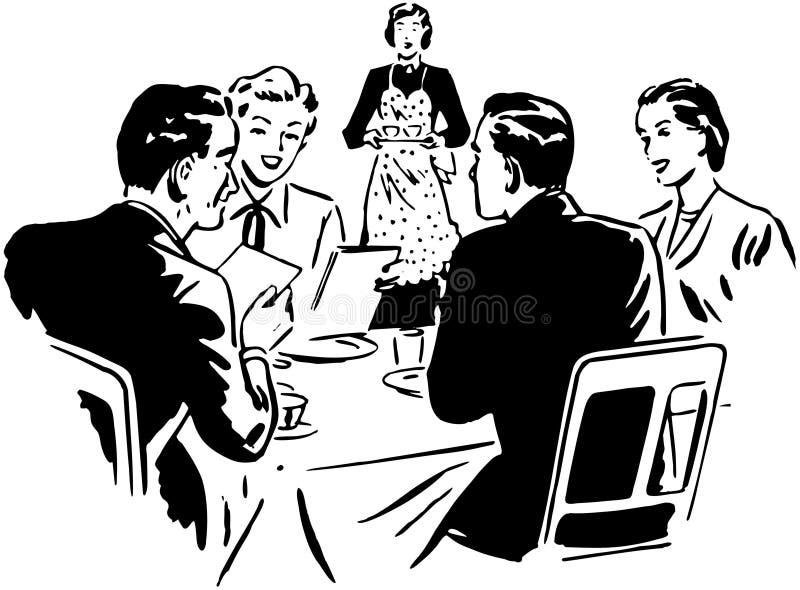 Twee Paren het Dineren royalty-vrije illustratie