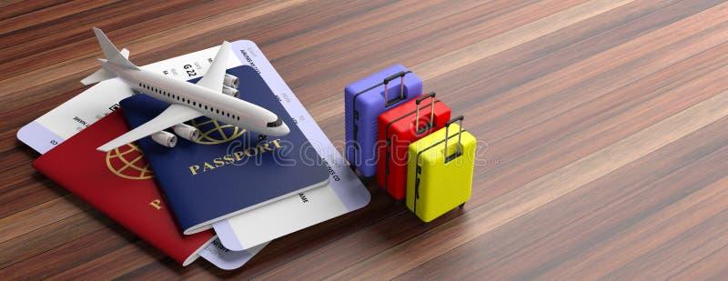 Twee paspoorten, koffers en vliegtuigkaartjes op houten achtergrond, banner, exemplaarruimte 3D Illustratie vector illustratie