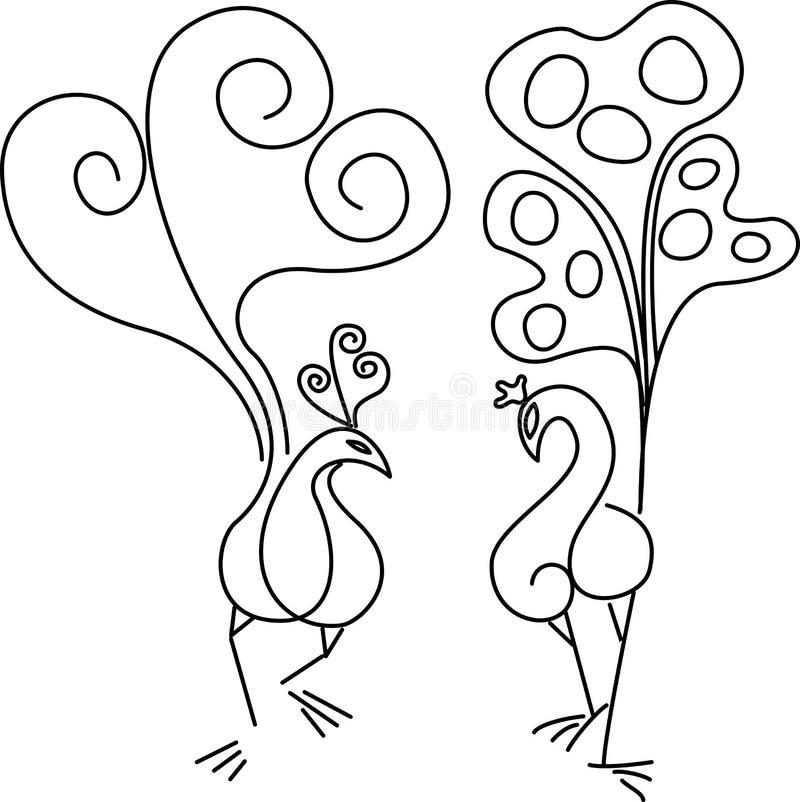 Twee pauwen. stock illustratie