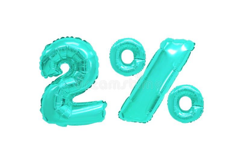 Twee percenten van ballons turkooise kleur royalty-vrije stock foto's