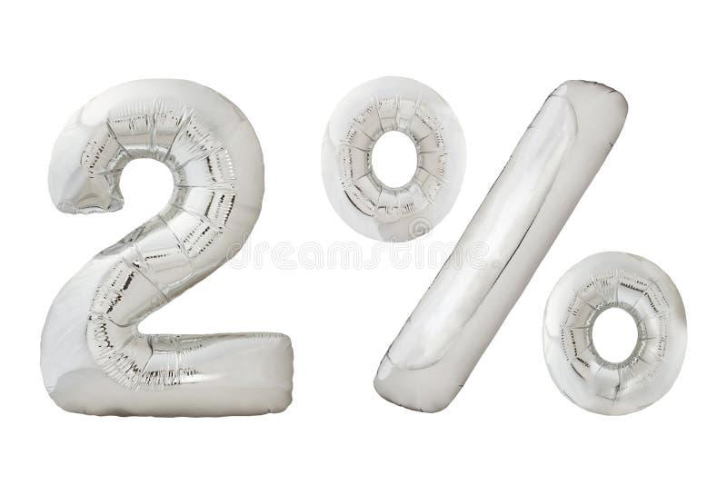 Twee percenten verchromen metaalballons op wit royalty-vrije stock foto's