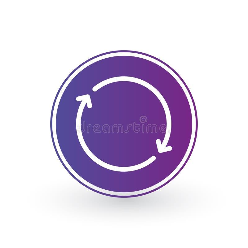 Twee pijlen in cirkel lineair pictogram voor mobiele websites, app, ui minimalistic vlak ontwerp Vectordieillustratie op wit word royalty-vrije illustratie