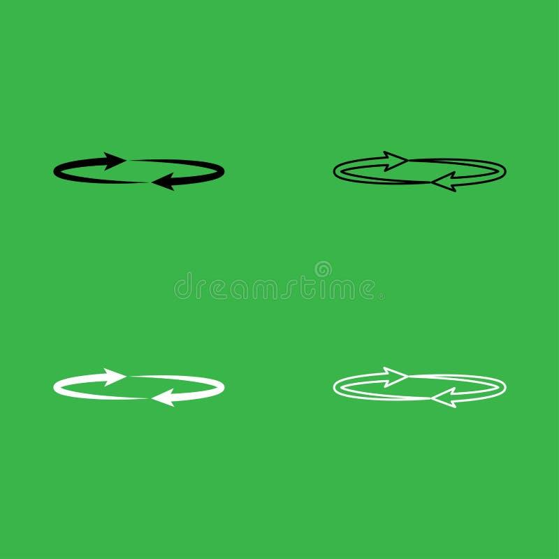 Twee pijlen op cirkelhoek 360 reeks van de pictogram de Zwart-witte kleur stock illustratie