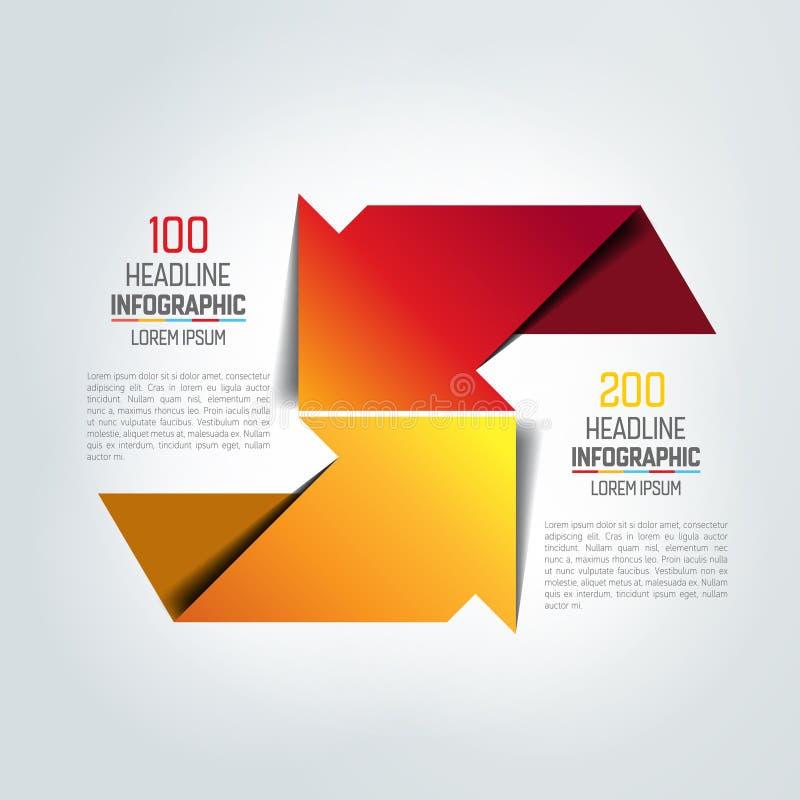 Twee pijlen in verschillende infographic richting, grafiek, regeling, diagram royalty-vrije illustratie