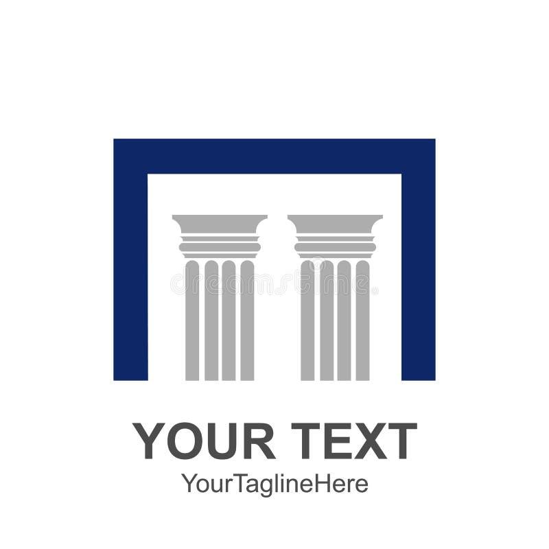 Twee pijlers met een hoofd vierkante brief van N voor architecturaal royalty-vrije illustratie