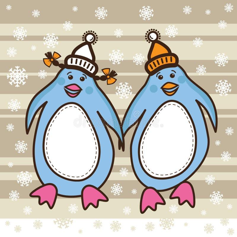 Twee pinguïnen gekleed in hoeden die samen lopen royalty-vrije illustratie