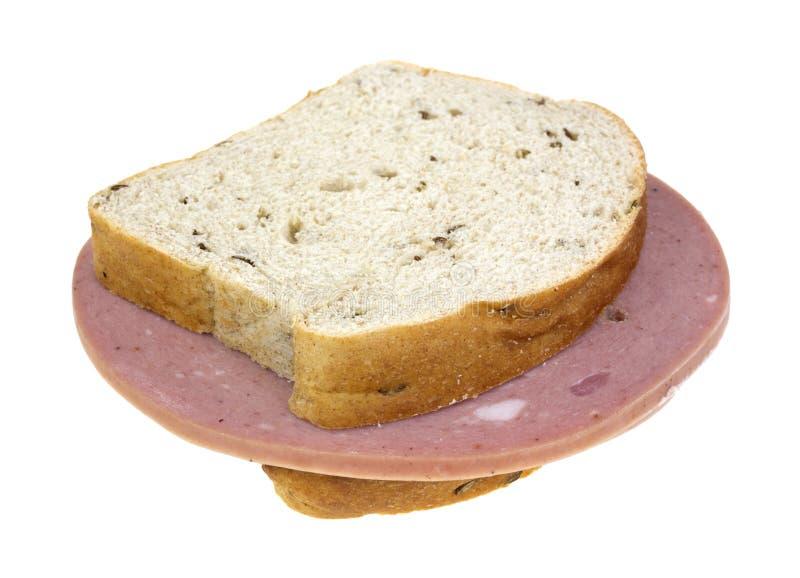 De sandwich van het de roggebrood van de mortadella stock foto