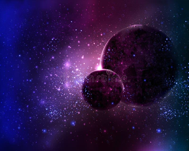 Twee planeten in de ruimtester van de nachthemel royalty-vrije illustratie