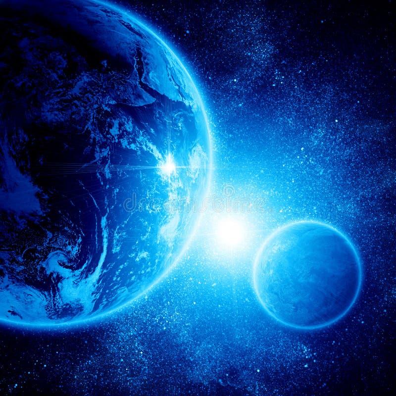 Twee planeten in ruimte royalty-vrije illustratie