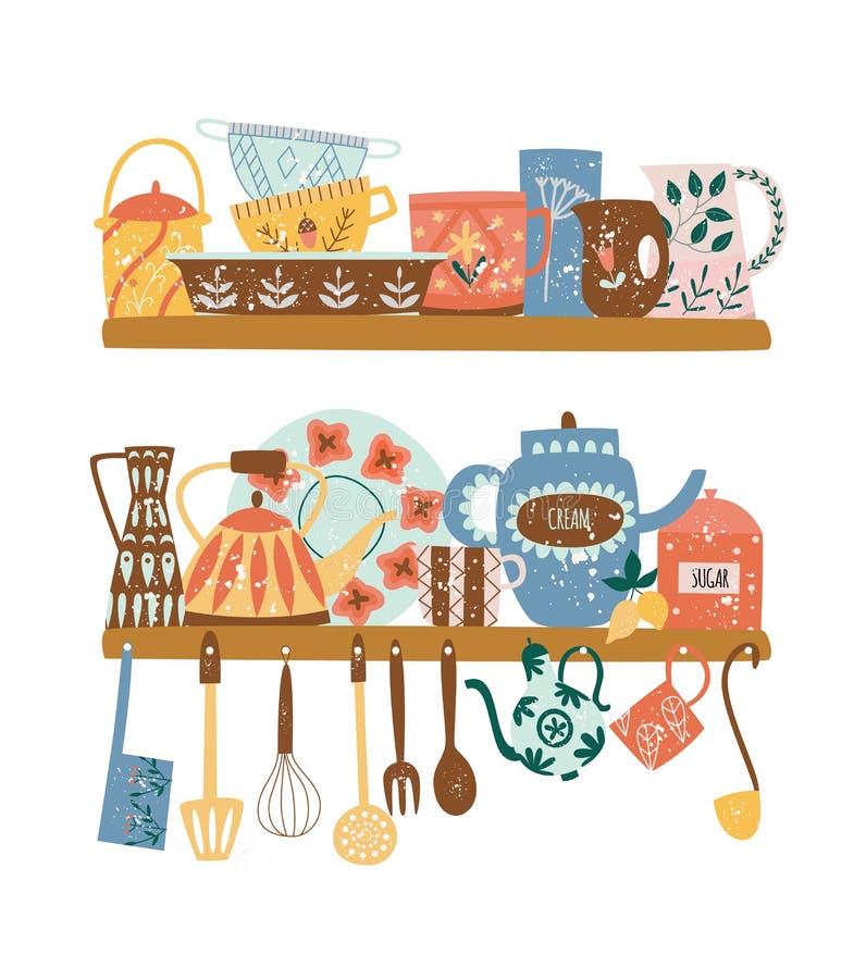 Twee planken met de ceramische vaatwerk en het hangen stijl van het keukengereedschap vlakke beeldverhaal stock illustratie
