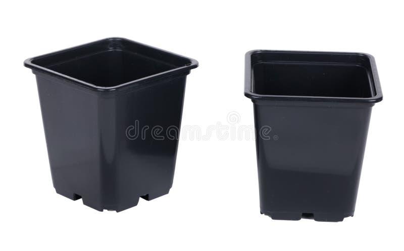 Plastic potten royalty-vrije stock afbeeldingen