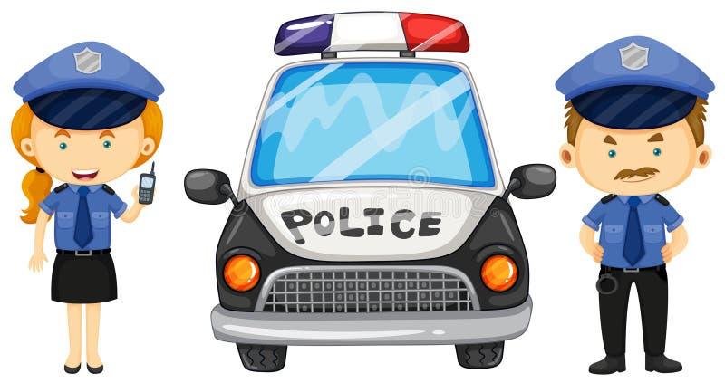 Twee politiemannen door de politiewagen vector illustratie