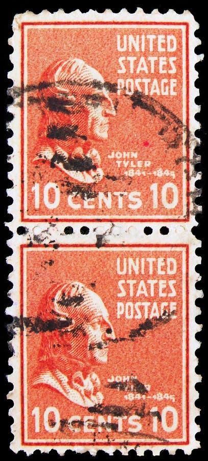 Twee postzegels in de Verenigde Staten laten John Tyler (1790-1862), tiende president van de Verenigde Staten, Presidentiële Kwes royalty-vrije stock afbeeldingen