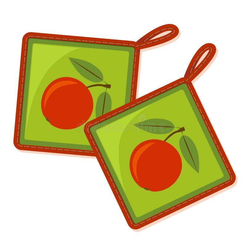 Twee potholders met appelpatroon vector illustratie