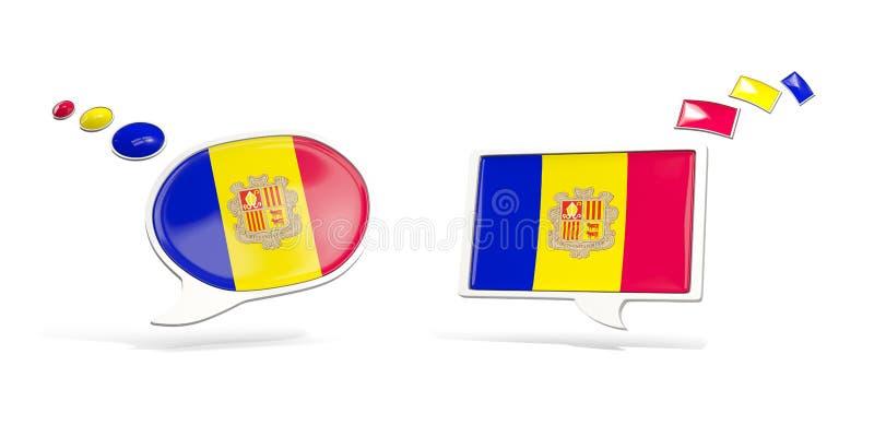 Twee praatjepictogrammen met vlag van Andorra vector illustratie