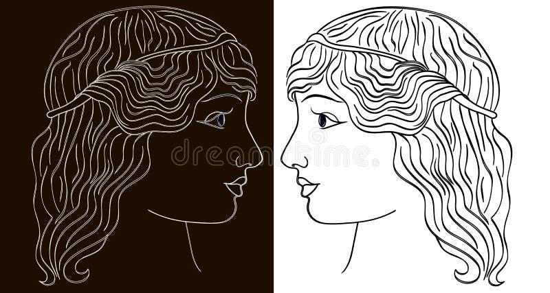 Twee profielen van het gezicht van het meisje voor witte en zwarte achtergrond, illustratie royalty-vrije illustratie