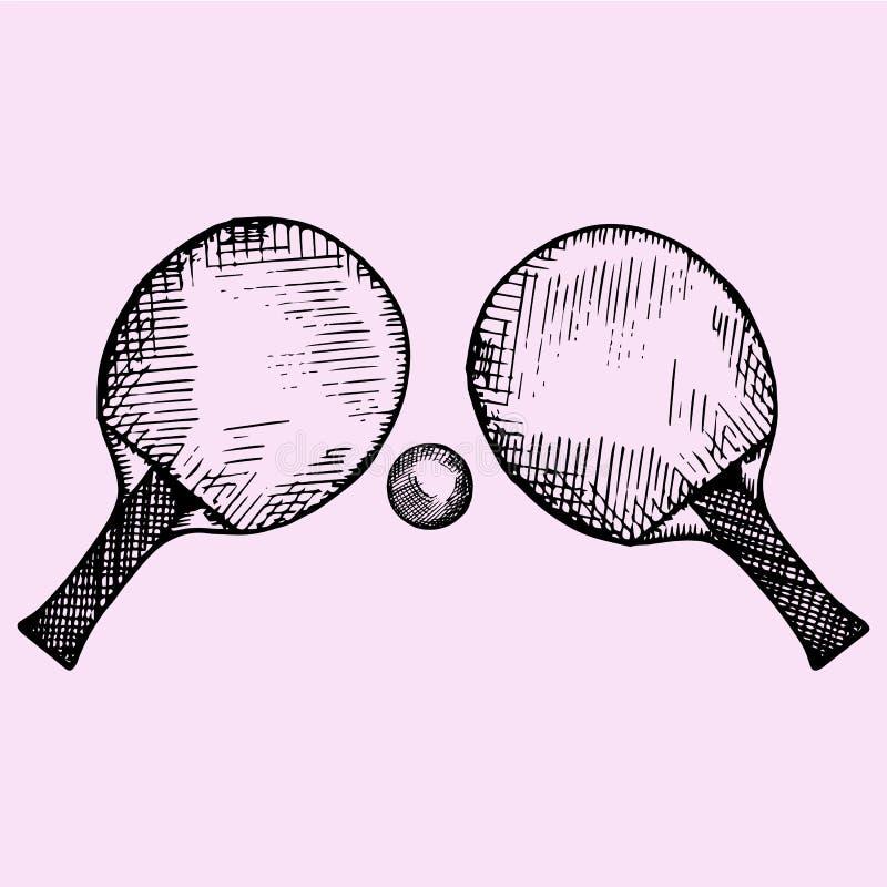 Twee rackets en bal voor het spelen van pingpong of pingpong royalty-vrije illustratie