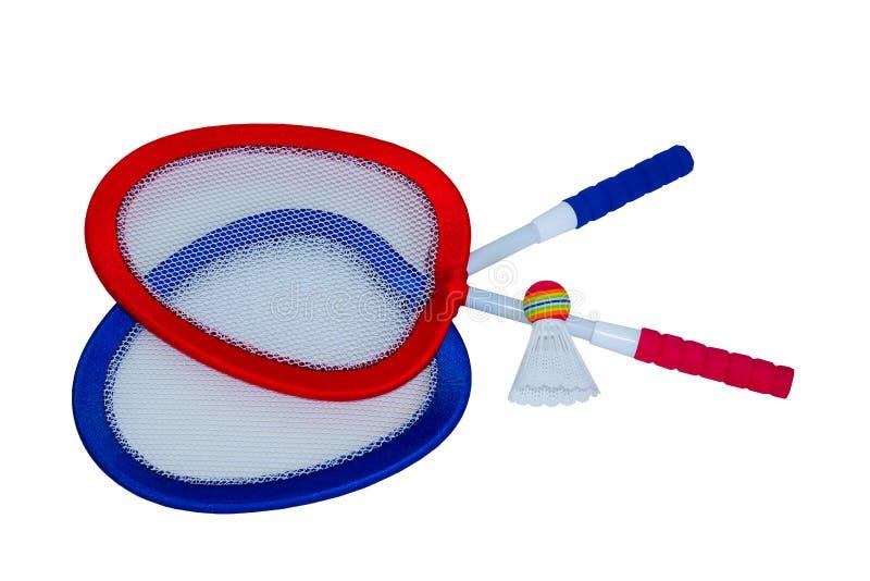 Twee rackets in rood en blauw en een shuttle voor badminton royalty-vrije stock foto