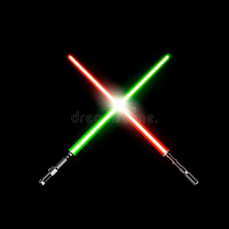 Twee realistische lichte zwaarden gekruiste groene en rood lichtzwaarden Vectordieillustratie op donkere achtergrond wordt geïsol vector illustratie