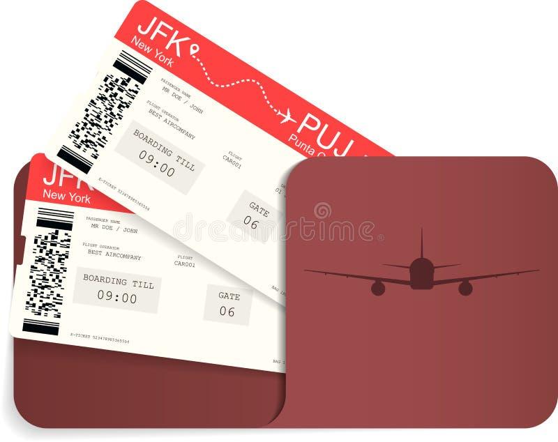 Twee realistische luchtvaartlijnkaartjes of instapkaart i stock illustratie