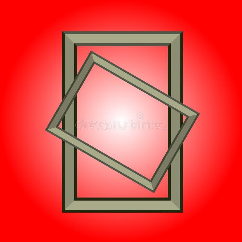Twee rechthoek realistische omlijstingen op een rode achtergrond Vector illustratie royalty-vrije illustratie