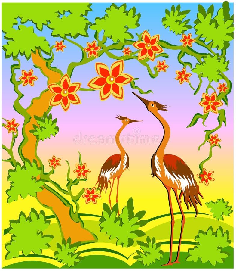 Twee reigers in het oostenstijl stock illustratie