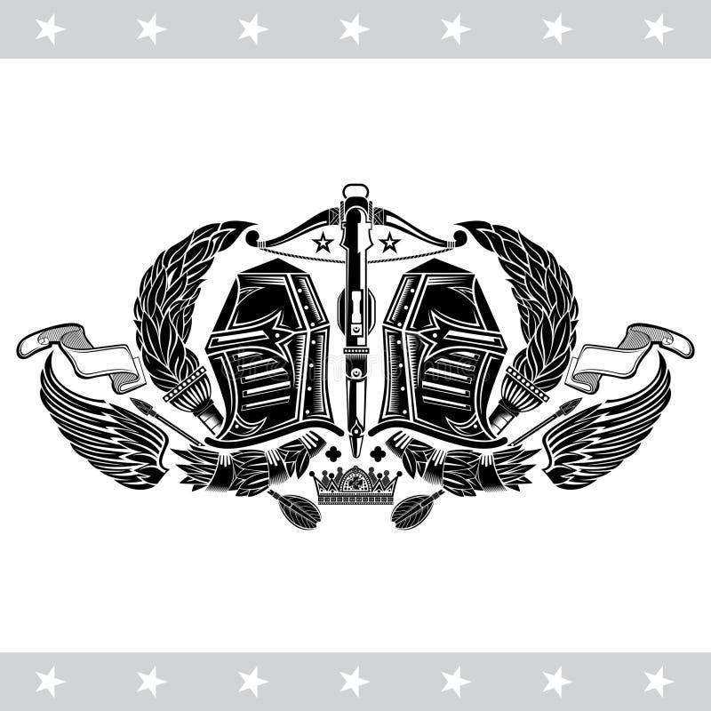 Twee ridderhelmen tussen toortsen en vleugels met kruisboog in centrum Heraldisch uitstekend etiket op wit vector illustratie