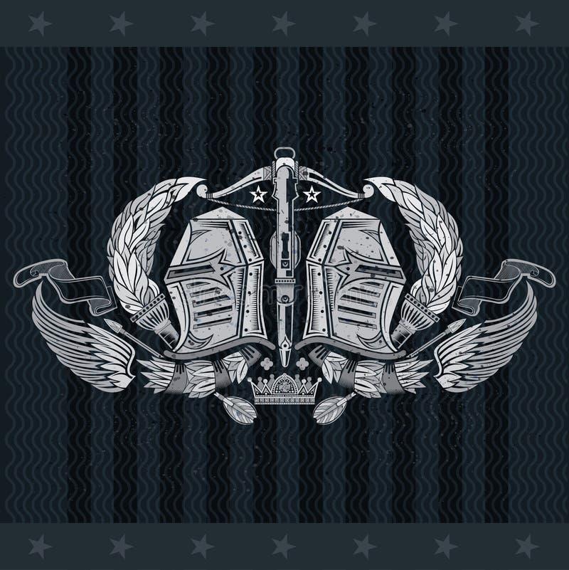 Twee ridderhelmen tussen toortsen en vleugels met kruisboog in centrum Heraldisch uitstekend etiket op zwarte vector illustratie
