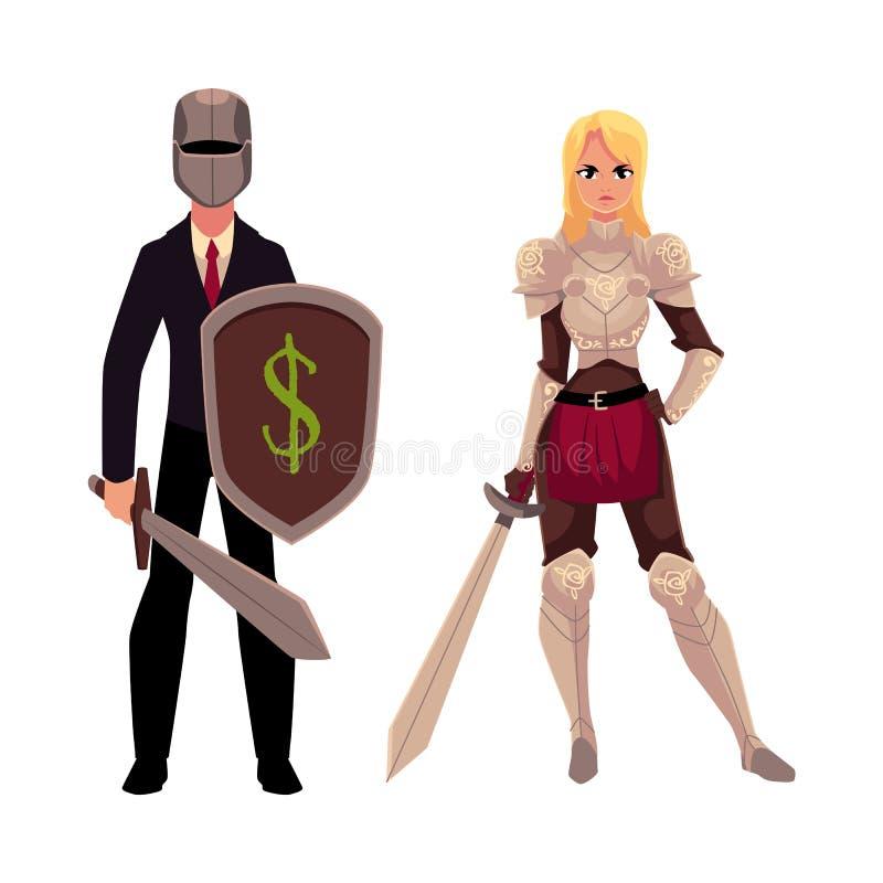 Twee ridders - moderne zakenmanstrijder en middeleeuwse gepantserde vrouw vector illustratie