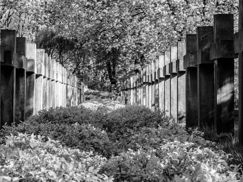 Twee rijen van concrete kruisen stock foto
