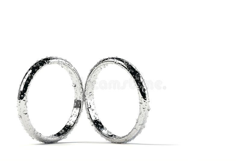 Twee ringen met waterdalingen stock illustratie