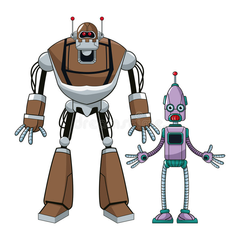 Twee robot futuristische technologieën vector illustratie