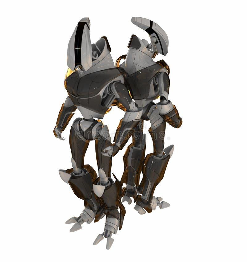 Twee robots rijtjes royalty-vrije illustratie
