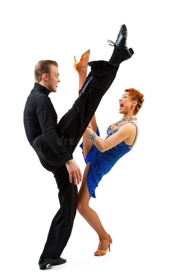 Twee rocknrolldansers royalty-vrije stock afbeeldingen