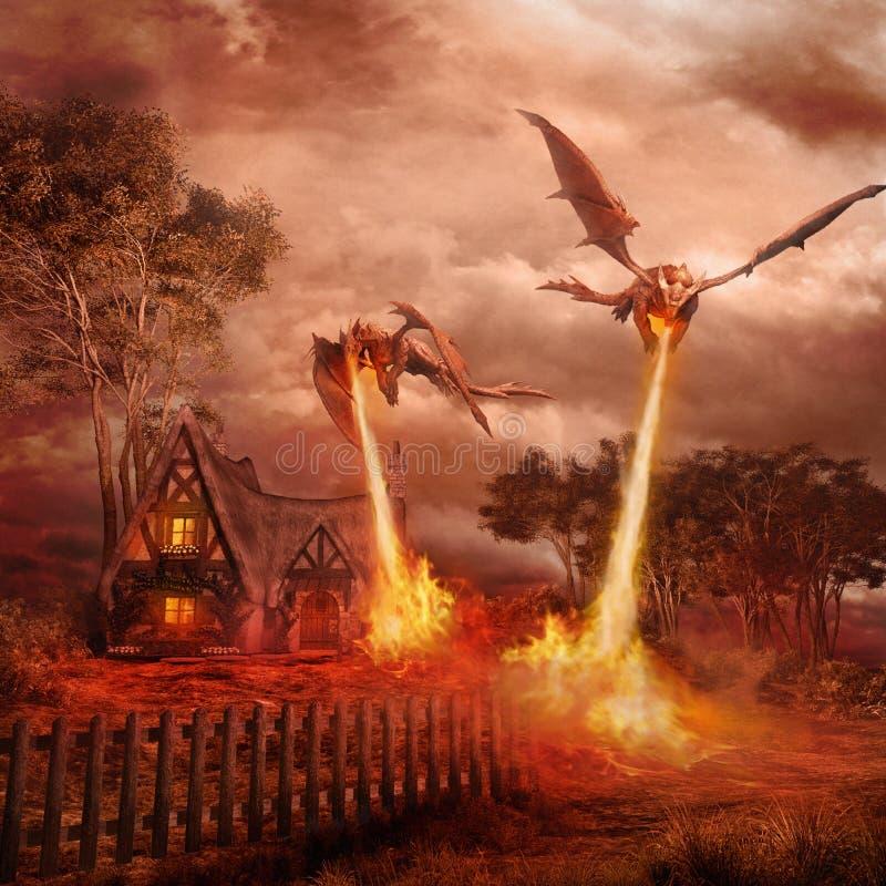 Twee rode draken vector illustratie